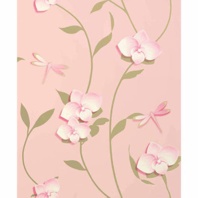 Crown Wallpaper Paper Orchid in Pink M0928 Sample