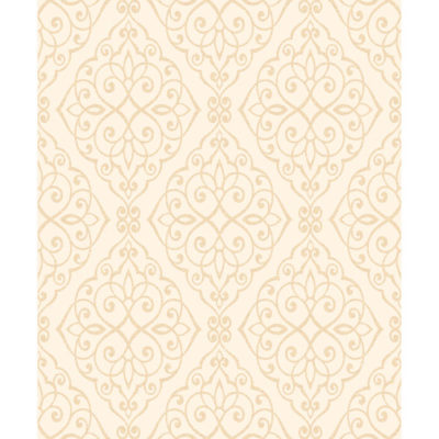 Crown Wallcoverings Jasmine Glitter Vinyl Scroll Wallpaper Ivory M1089 Sample