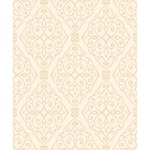 Crown Wallcoverings Jasmine Glitter Vinyl Scroll Wallpaper Ivory M1089 Sample