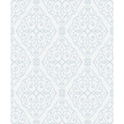 Crown Wallcoverings Jasmine Glitter Vinyl Scroll Wallpaper Blue M1090 Full Roll