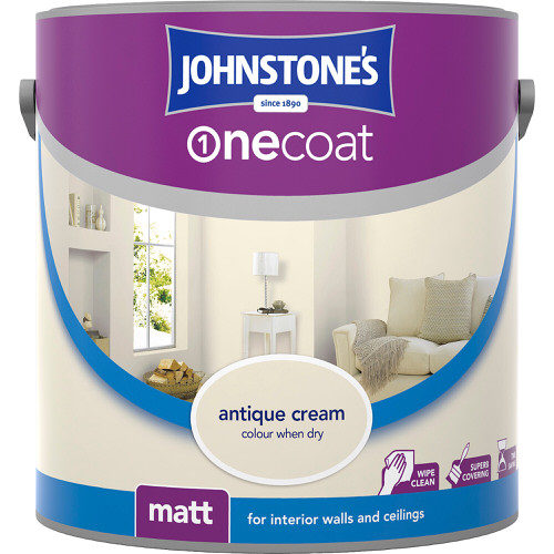 Johnstones Emulsion Antique Cream One Coat Matt 2.5 Litre
