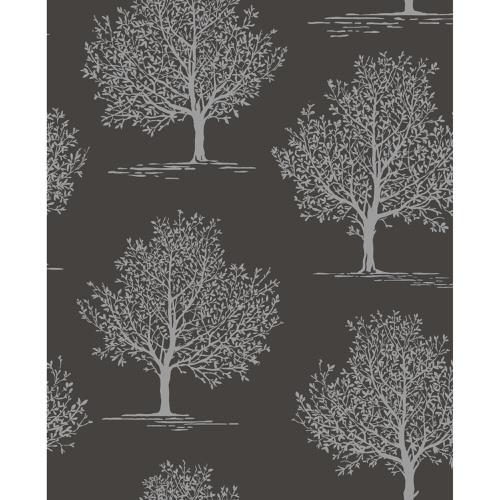 Fine Decor Wallpaper Sparkle 2 Glitter Tree Black DL40591 Sample