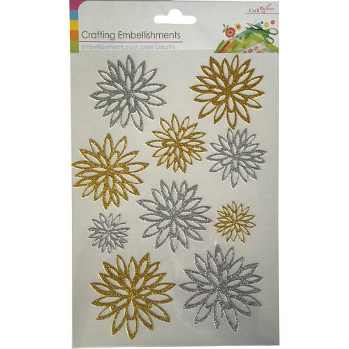 Crafting Flower Embellishments Pack of 10 in Silver & Gold