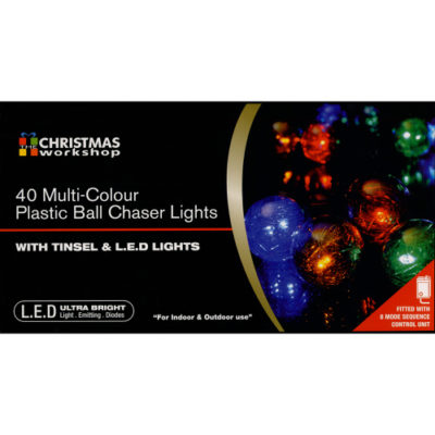 Christmas Multi Colour Tinsel Ball Chaser Light Set of 40