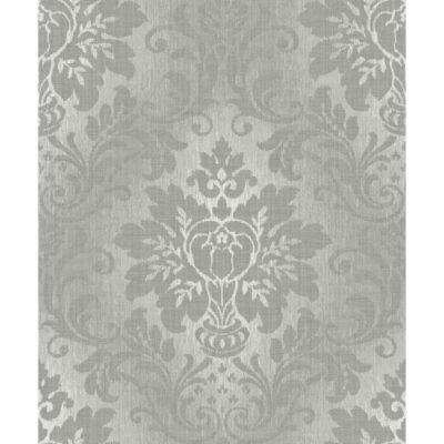 Royal House Vinyl Wallpaper Fabric Damask A10904 Grey Sample