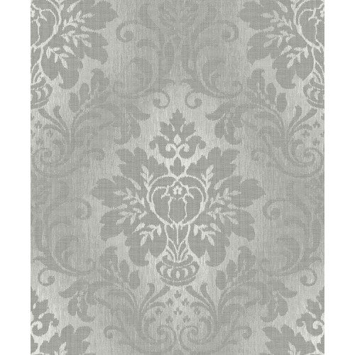 Royal House Vinyl Wallpaper Fabric Damask A10904 Grey Sample
