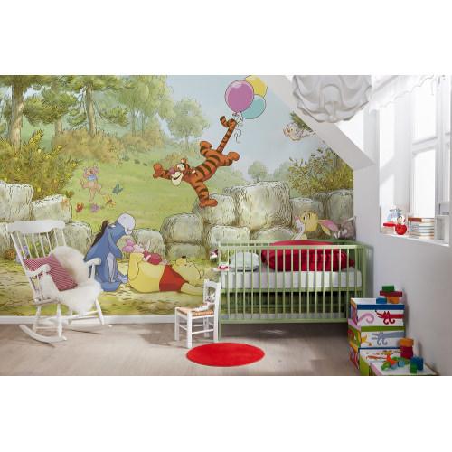 368 x 254cm Winnie Pooh Ballooning Mural