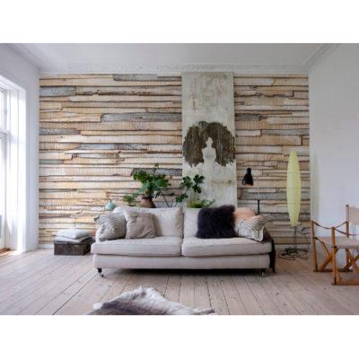 368 x 254cm Whitewashed Wood Wall Mural