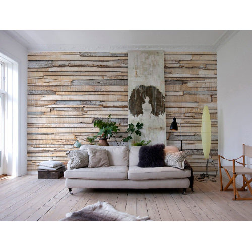 368 x 254cm Whitewashed Wood Wall Mural