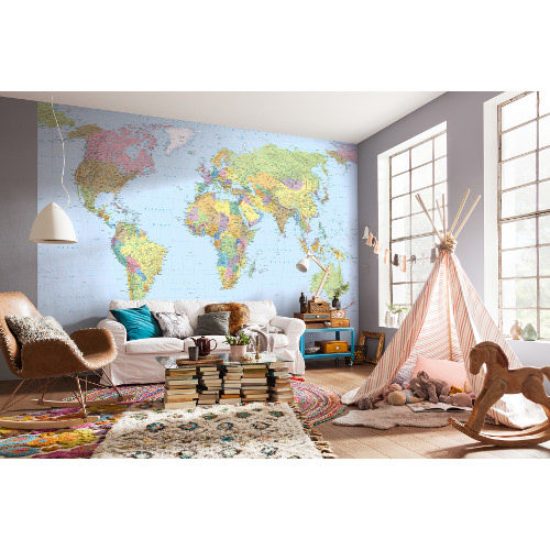 368 x 248cm World Map Mural