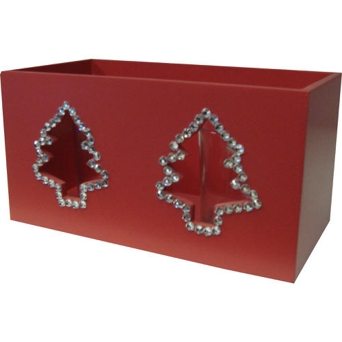 Christmas Tree Crystal Decorated Double Tealight Holder