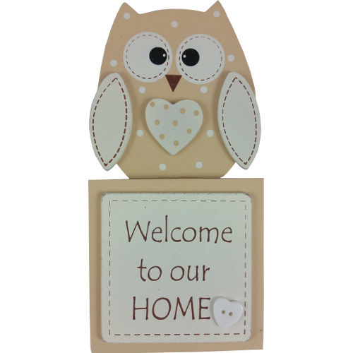 "Wooden Owl Plaque ""Welcome To Our Home"""
