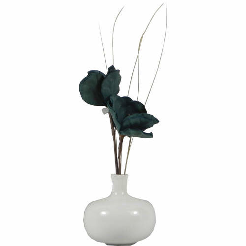Bud Vase in White with Teal Flower