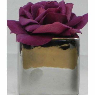 Metallic Rose Pot Purple
