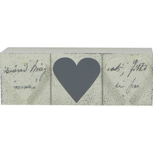 Wooden Block with Heart Detail Silver & Cream