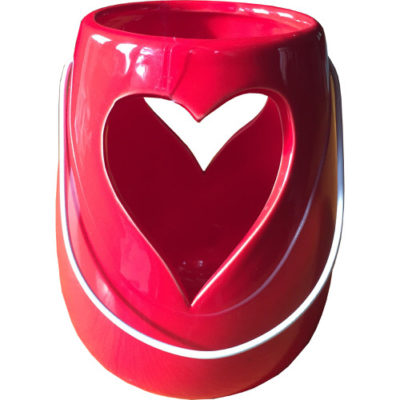 Ceramic Heart Candle Holder with Handle in Red