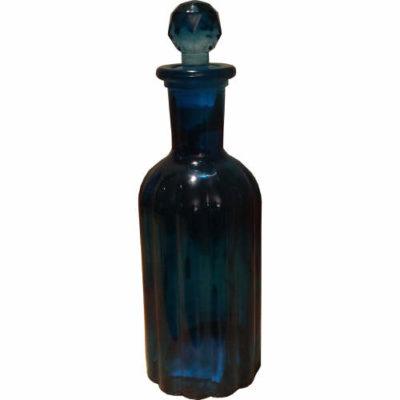 Glass Ribbed Storage Jar in Blue
