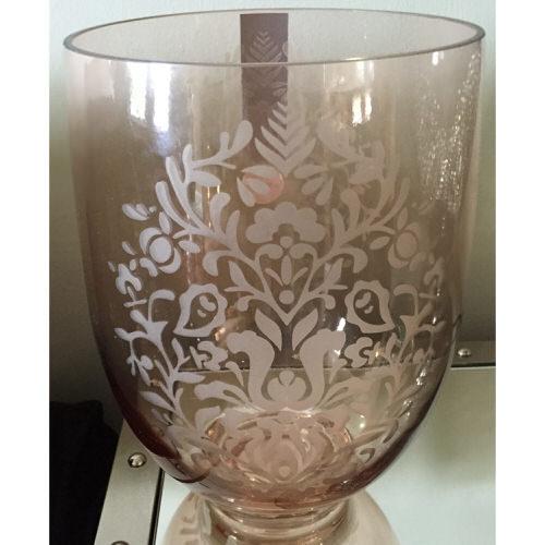 Glass Fleur-de-Lys Decorated Vase