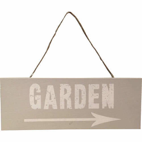 Garden Sign with Arrow in Light Grey & White