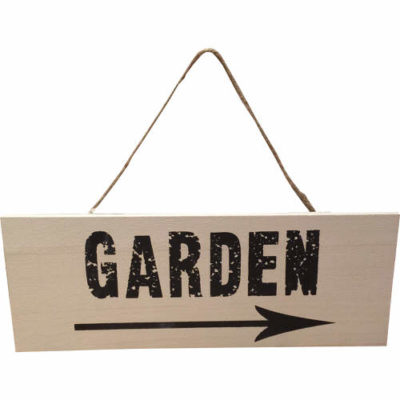 Garden Sign with Arrow in Stone & Brown