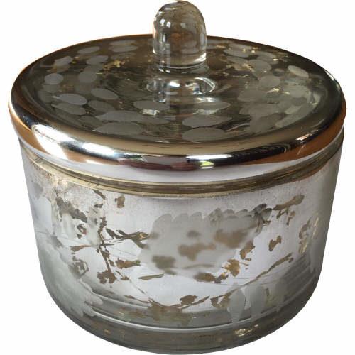 Glass Trinket Storage Box in Silver 12cm