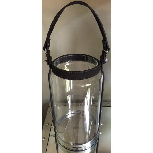 Glass Candle Lantern with Leather Straps