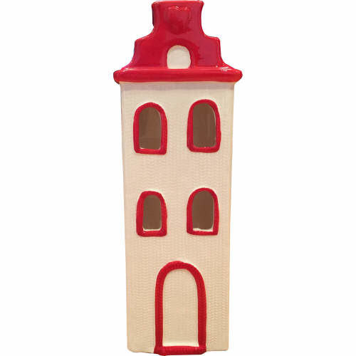 House Tealight Holder in Red & Cream