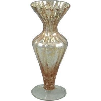 17cm Shaped Vase in Metallic Silver