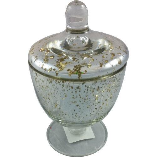 Large Urn Shaped Mottled Glass Jar and Lid