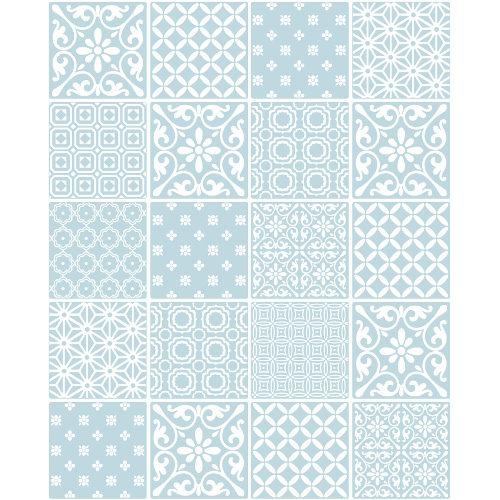 Ceramica Tiling Vinyl Wallpaper Spanish Tile Blue FD41466 Sample