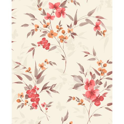 Sparkle Glitter Wallpaper Blossom Red & Terracotta FD41477 Full Roll
