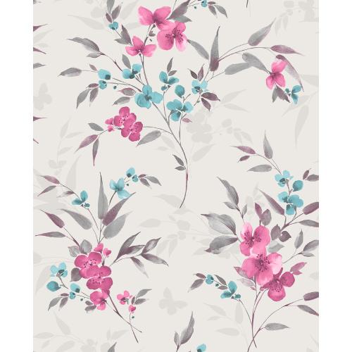 Sparkle Glitter Wallpaper Blossom Teal & Pink FD41480 Sample