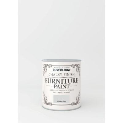 750ml Rustoleum Chalky Finish Furniture Paint Flat Matt Winter Grey