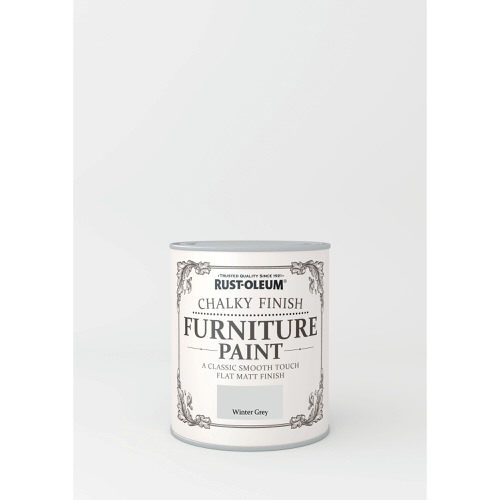 750ml Rustoleum Chalky Finish Furniture Paint Flat Matt Winter Grey