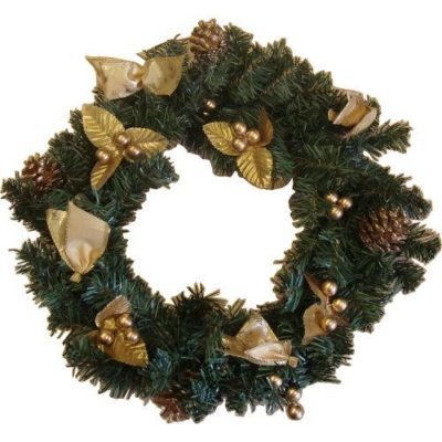 Decorated Christmas Wreath 38cm Gold