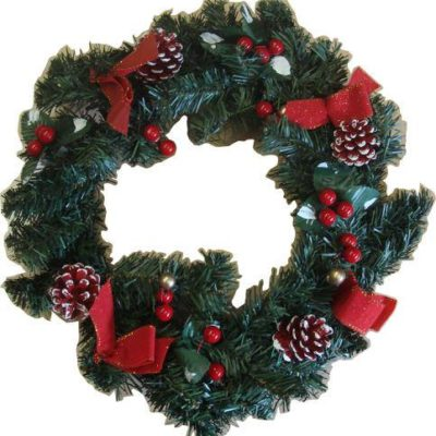 Decorated Christmas Wreath 38cm Red