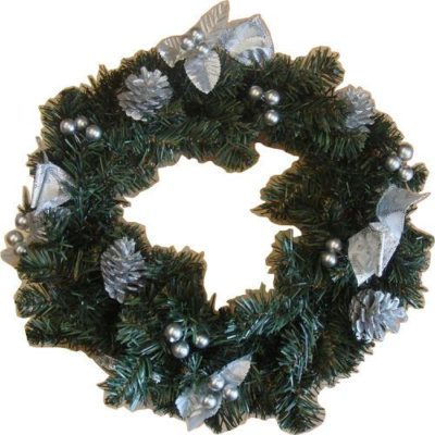 Decorated Christmas Wreath 38cm Silver