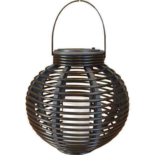 Solar Powered Rattan Effect Candle Lantern Light