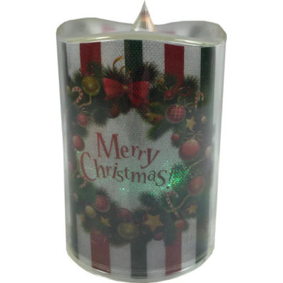 Colour Changing Merry Christmas Bauble Candle