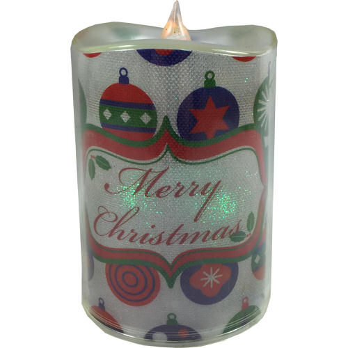 Colour Changing Merry Christmas Wreath Candle