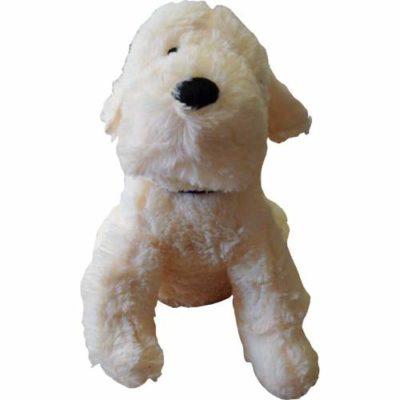 Doorstop Dog in Cream with Black Collar