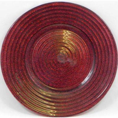 Glitter Swirl Plate Red