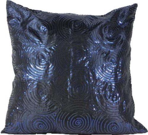 Cushion Cover Sequin Swirl Blue