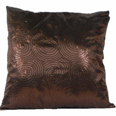 Cushion Cover Sequin Swirl Chocolate