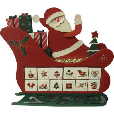 Christmas Decoration Wooden Christmas Sleigh with Santa Advent Calendar