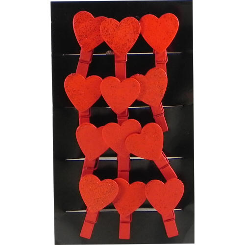Christmas Heart Pegs in Red Pack of 12