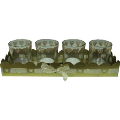 Glitter Tea Light Holders and Tray Gold Set of 4