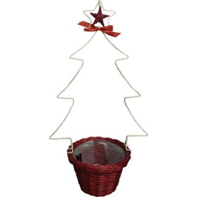 Christmas Tree Planter White Tree Red Basket 76cm