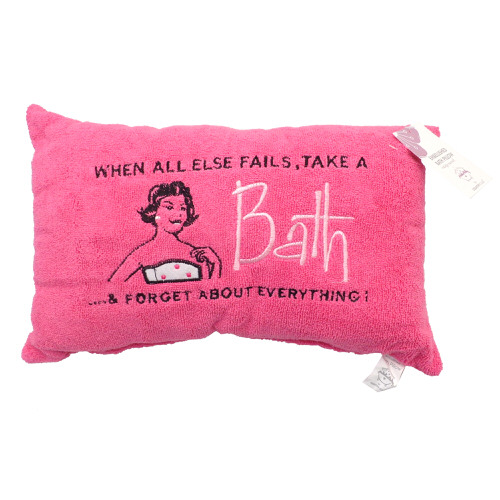 """""""When All Else Fails"""" Embellished Bath Pillow in Pink"""
