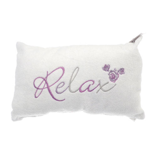 """""""Relax"""" Embellished Bath Pillow in Cream"""